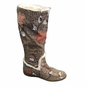 Nine West tweed textile fall leaves pull on boots 7
